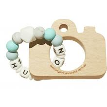 PERSONALISED Silicone Name Teether with Beech wood Toy