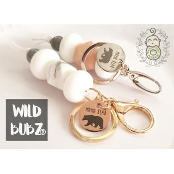 MAMA BEAR Stainless Steel / Rose Gold key ring - by WILD BUBZ®