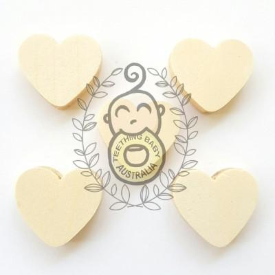 Wooden Heart Beads - Maple wood