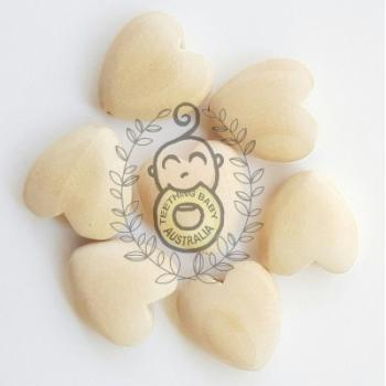 Wooden Heart Beads - Rounded