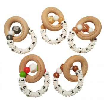 Christmas - Personalised Baby Teether with Beech Ring