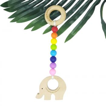 RAINBOW BRIGHT | Nature Teething Toy | Beech wood Toy | Customisable