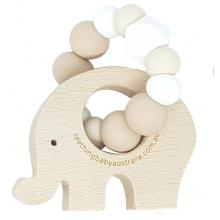 WILD BUBZ® Neutral Palette | Beech Teether Toy | Optional Name Engraving + Shapes