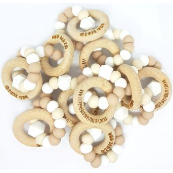 WHOLESALE | Neutral Silicone teething toys + beech wooden rings | Safety Certified | WILD BUBZ®
