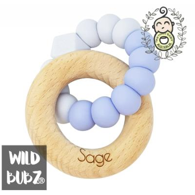TWO TONE | PERSONALISED | Silicone + Beech Ring |WILD BUBZ®  Teether Toy | Optional Name Engraving