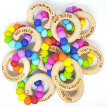 WHOLESALE | Bright Rainbow | Silicone teething toys + beech rings | Safety Certified | WILD BUBZ®