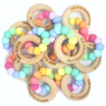 WHOLESALE | Pastel Rainbow | Silicone teething toys + beech rings | Safety Certified | WILD BUBZ®