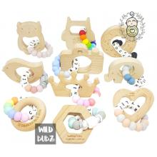 PERSONALISED | Silicone Name Teether | Beech wood Toy | WILD BUBZ® | Custom Colour + Shape Options