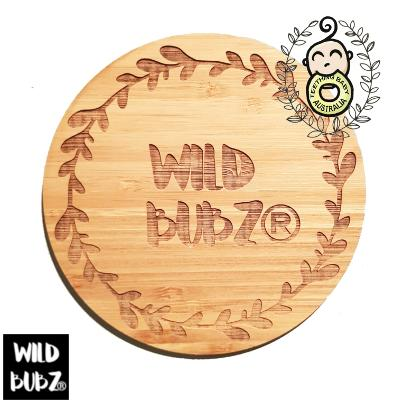Wood Bamboo | Business Name Logo Brand Plaque | Custom Engraved Etched Flat Lay Display