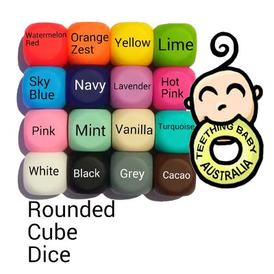 17mm Rounded Cube Silicone Beads - Food Grade