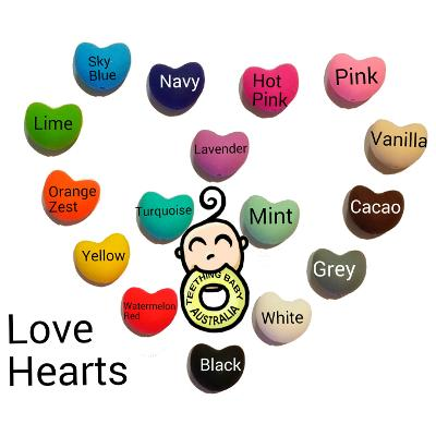 20mm Hearts - Silicone Beads - Food Grade