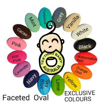 40mm Faceted Ovals - Silicone Beads - Food grade