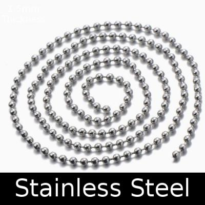 60cm Stainless Steel Necklace Ball Chain Necklace & Clasp