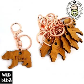 Mama Bear | Key Ring / Bag Tag | Bamboo