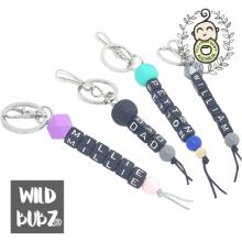 Personalised | NAME | Keyring | Bag Tag | Charm | Black Letters | WILD BUBZ®