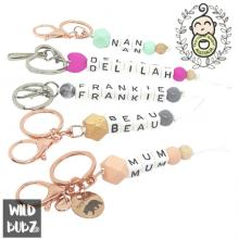 Personalised | NAME | Keyring | Bag Tag | Charm | White Letters | WILD BUBZ®