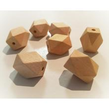 12 x 15mm Faceted Wood Eco Natural Big Beads | Non-Toxic