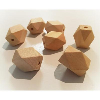 30mm x 20mm Faceted Wood Eco Natural Big Beads