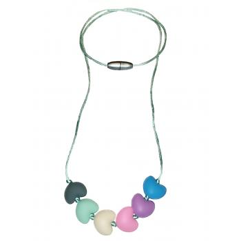 Rainbow Silicone Hearts Necklace - Pastel