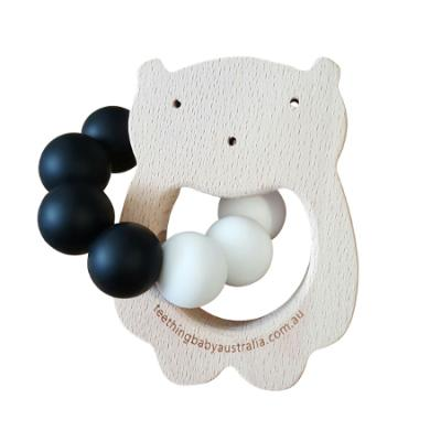 WILD BUBZ® Monochrome Beech Teether Toys |Optional Name Engraving + Shape Options