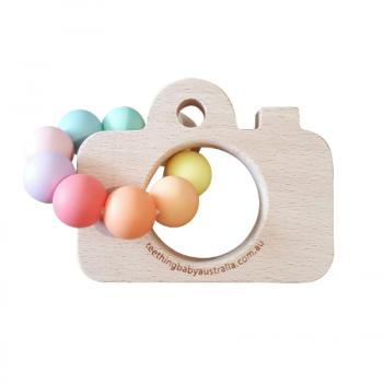 Pastel Rainbow + Beech Teether Toy | FREE ENGRAVING