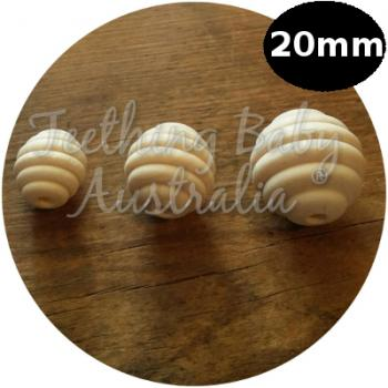20mm Bee Hive Wood Eco Natural Beads | SMOOTH | Raw