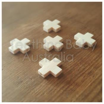 20mm Swiss Cross X  Wood Beads eco natural | SMOOTH | as low as $0.49
