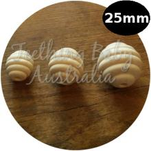 25 mm Bee Hive Wood Eco Natural Beads