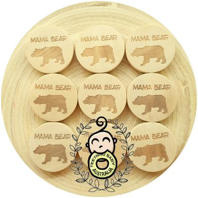 MAMA BEAR - Engraved Wood Disk Bead - 25mm